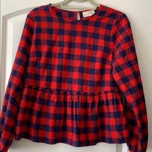Navy and red checkered shirt